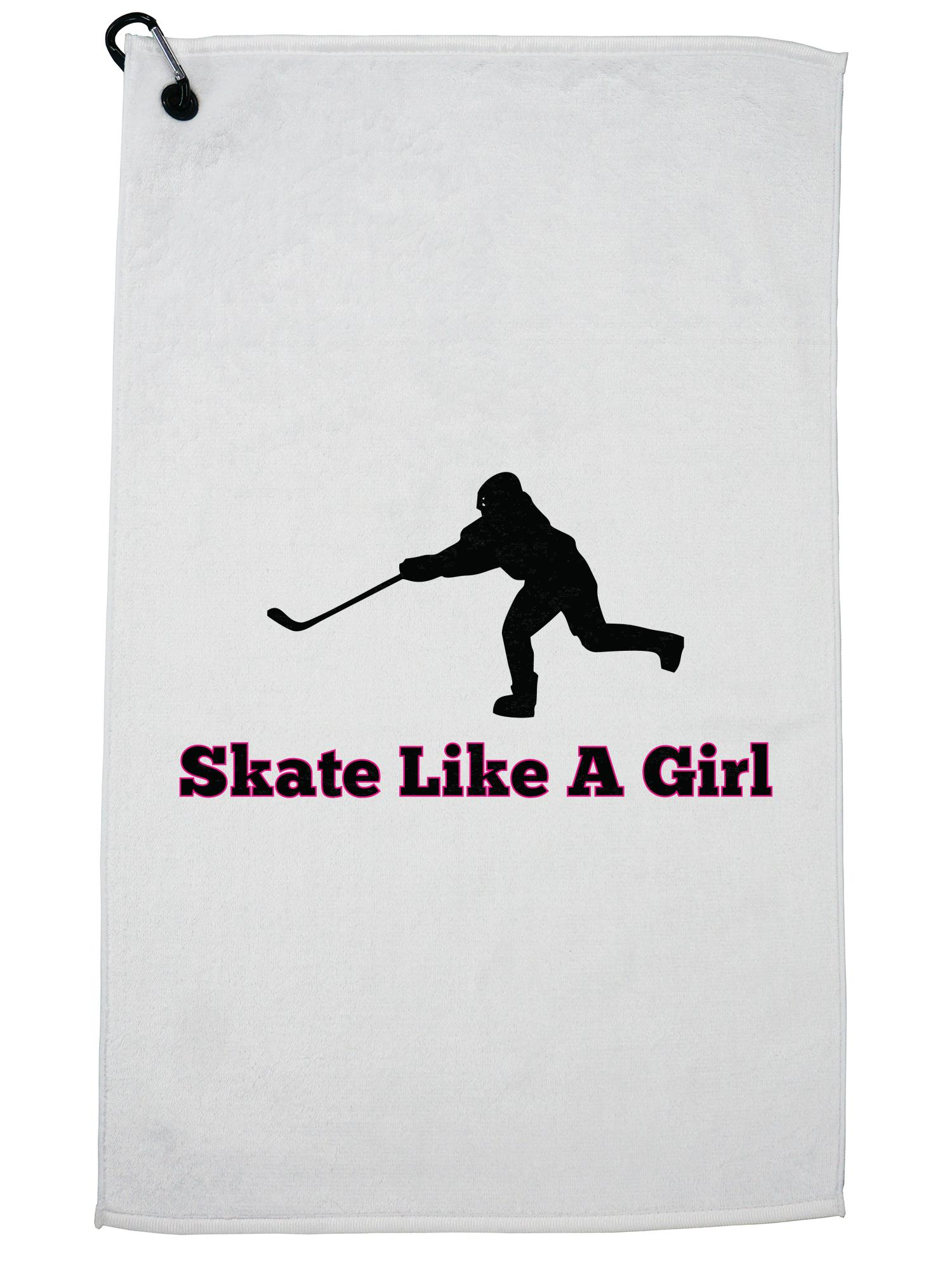 Skate Like A Girl Hockey Player Pride Golf Towel with Carabiner Clip by Hollywood Thread