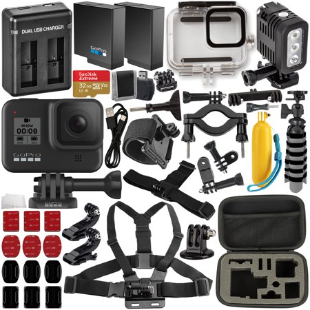 GoPro HERO8 (Hero 8) Action Camera with Deluxe Accessory Bundle – Includes: SanDisk Extreme 32GB microSDHC Memory Card, Spare Battery, Dual Battery Charger, Underwater Housing, LED Light & Much More
