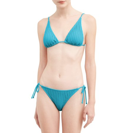 3a40885f7bf7a No Boundaries - Juniors' Crochet Triangle Swimsuit Top - Walmart.com