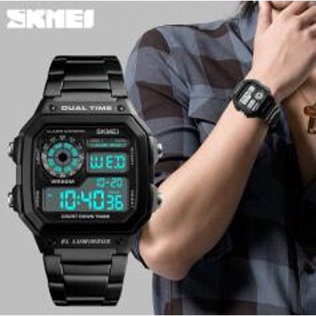 SKMEI Fashion Watch Men Sports Military Watches Stainless Steel Waterproof Digital Watch (Panthers Sports Watch)