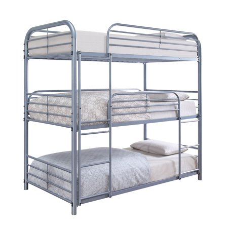 official photos 9582b f98d7 Furniture of America Jasper Silver 3-Tiered Metal Twin on Twin on Twin Bunk  Bed