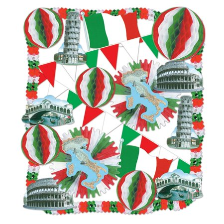 23 Piece Red, White and Green Festive Italian Themed Decorating Kit