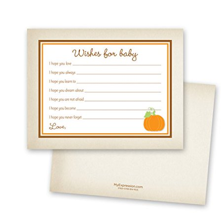48 Cnt Rustic Style Orange Pumpkin Baby Wishes Card - image 1 of 1