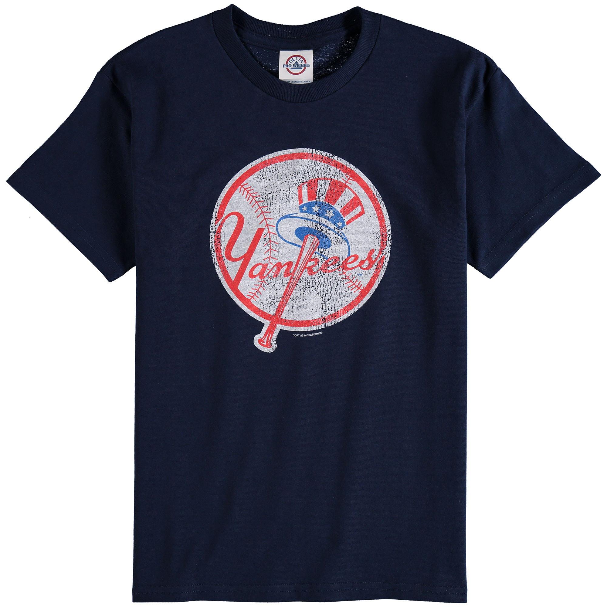 New York Yankees Youth Distressed Logo T-Shirt - Navy Blue