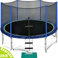 Zupapa TUV Certified 12FT Trampoline with enclousre net ladder assembly tools, 2019 Upgraded