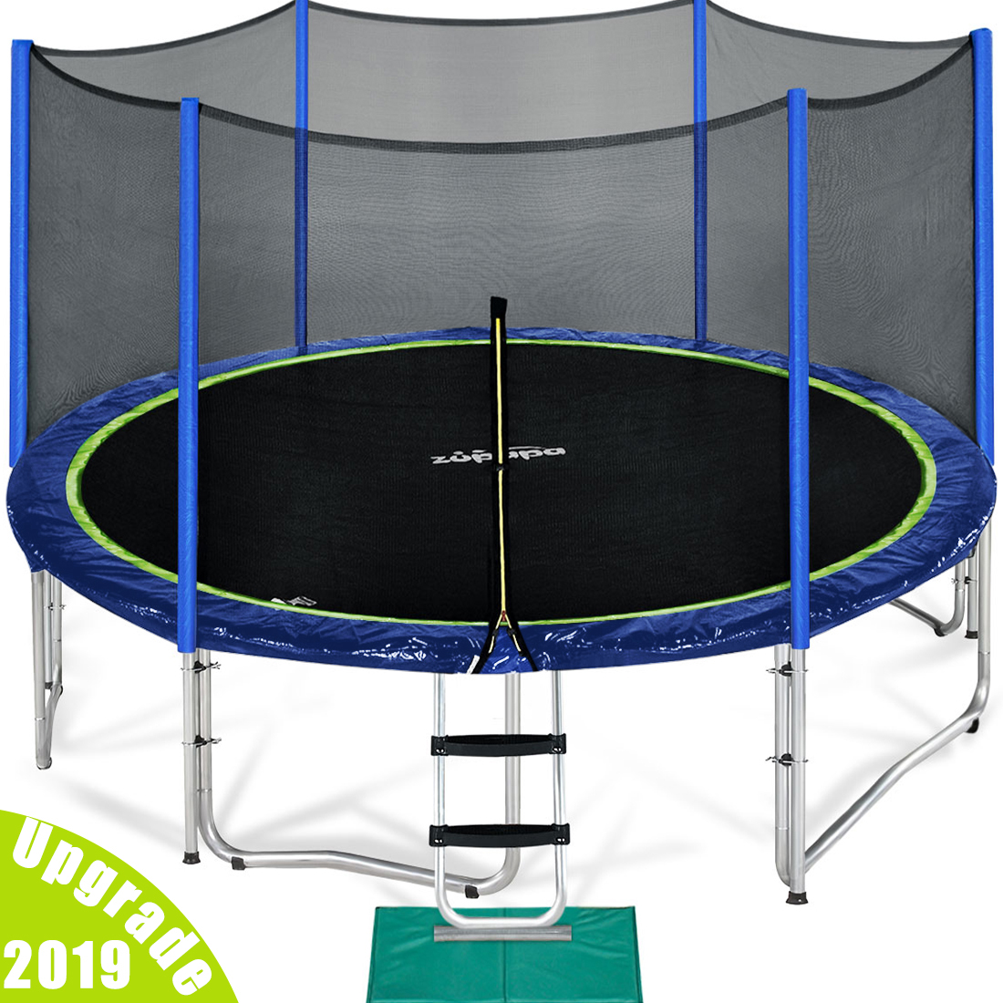 Zupapa 2019 Upgraded 15FT Trampoline with enclousre net ladder assembly tools, TUV Certified