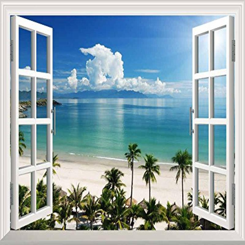 "wall26 White Beach with Blue Sea and Palm Tree Open Window Mural Wall Sticker - 36""x48"""