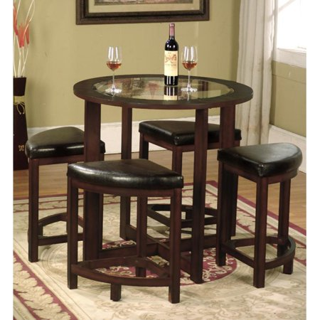 Roundhill Furniture Cylina Solid Wood Glass Top Round Dining Table with 4