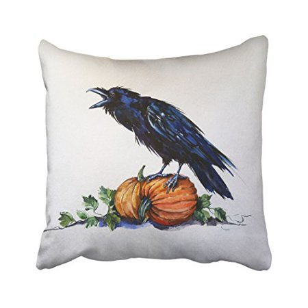 WinHome Halloween Watercolor Pumpkin And Crow Decorative Pillow Cover With Hidden Zipper Decor Cushion Two Sides 18x18 inches (Pumpkin And Halloween)