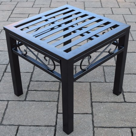 Oakland Living Noble Wrought Iron Patio End Table ()