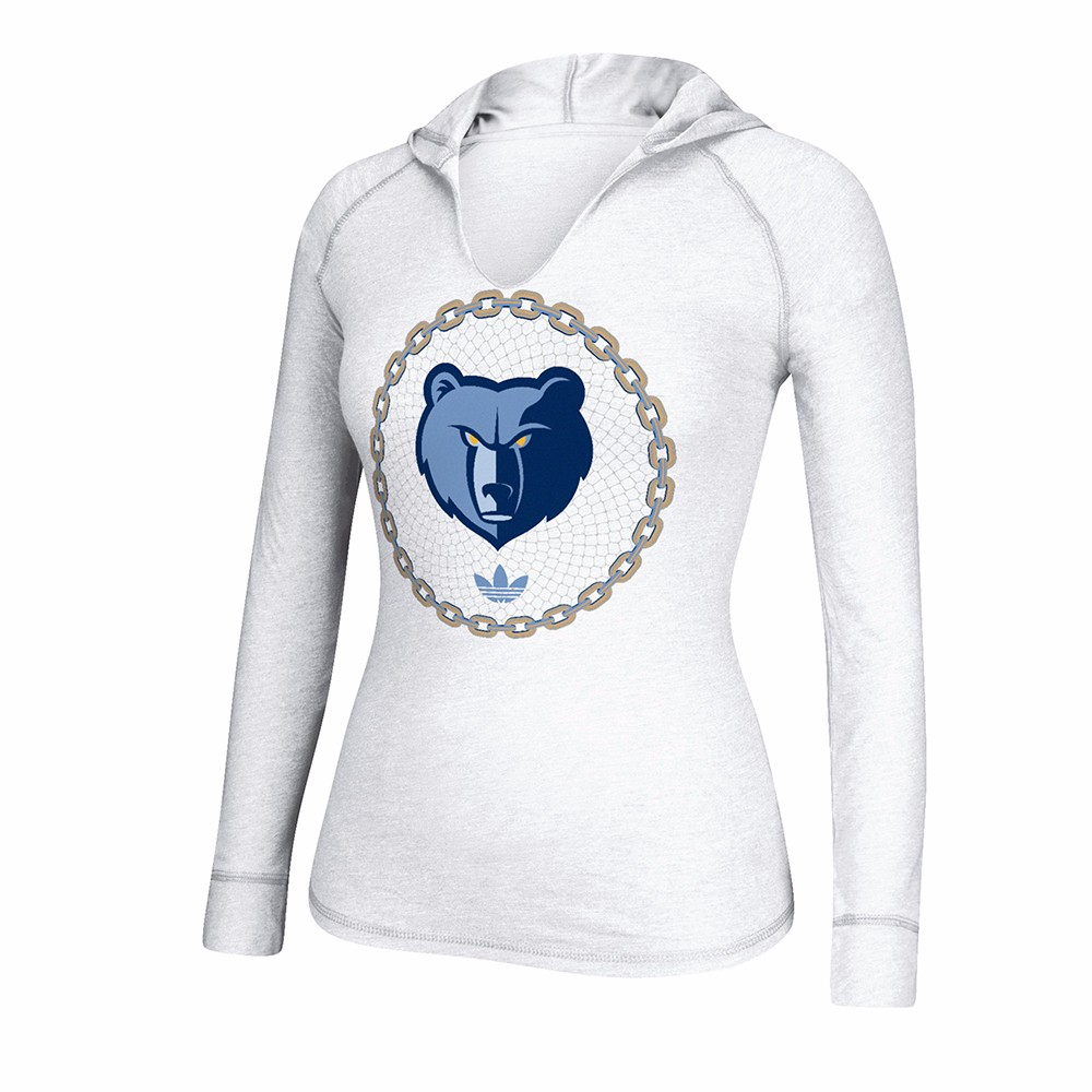 "Memphis Grizzlies NBA Adidas White ""No Weak Link"" Heather Hooded Long Sleeve T-Shirt For Women by Adidas"