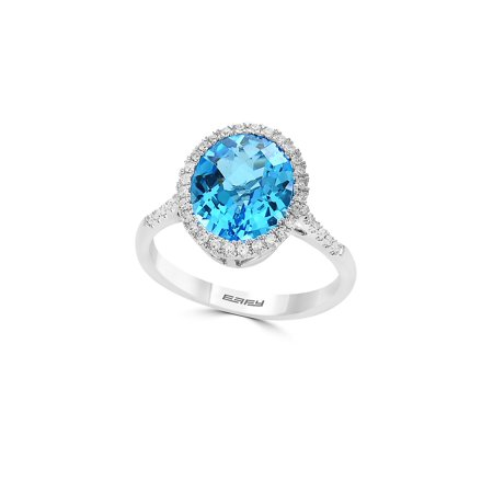 Diamond, Blue Topaz and 14K While Gold Statement RIng Blue Topaz White Gold Bands