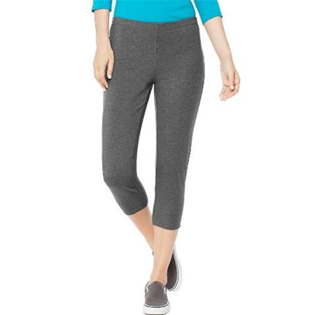 O9293 Womens Stretch Jersey Capri, Charcoal Heather - Medium