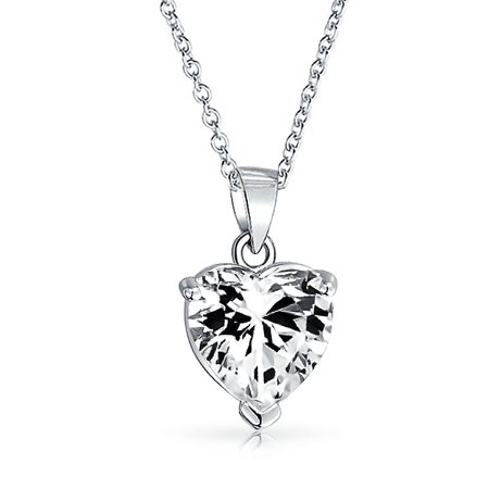 4CT Heart Shape Solitaire Cubic Zirconia CZ Prong Set Bridal Pendant Necklace For Women 925 Sterling Silver 16 In