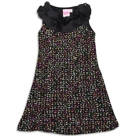 Lipstik - Little Girls Sleeveless Boucle Dress MULTICOLOURED / 10 - Lipstik Girls Clothes