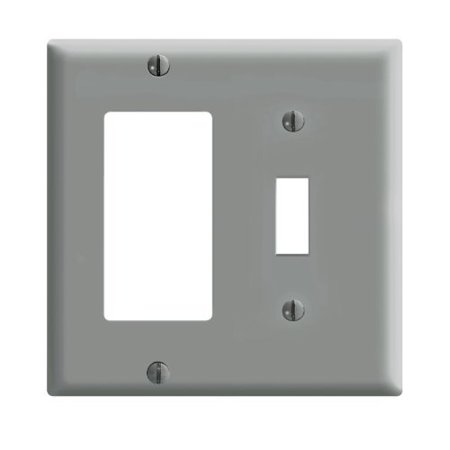 Leviton 80405-GY Gray Two Gang Combination Toggle Switch Decora Wall Plate