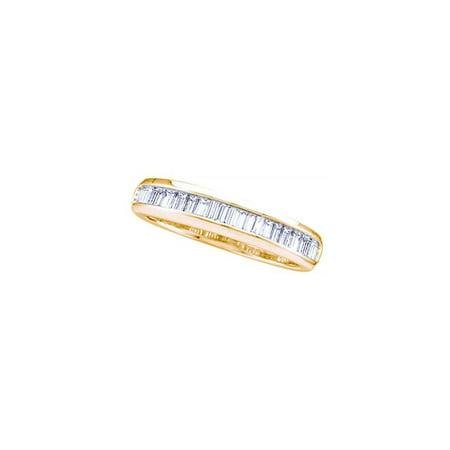 14kt Yellow Gold Womens Baguette Diamond Wedding Anniversary Band Ring (.16 cttw.)