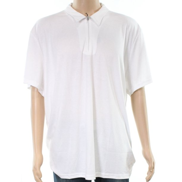 Alfani NEW Bright White Mens Size 3XL Ottoman Solid Zip Polo Shirt