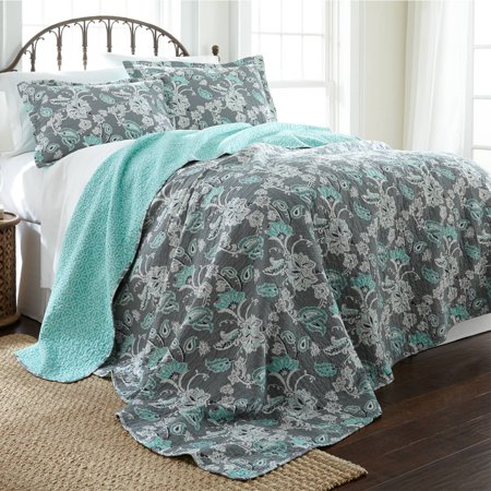 100% Cotton 3 Piece Printed Reversible Quilt Set - Agnes King