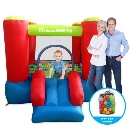 PicassoTiles KC106 Jump & Slide Inflatable Bouncing House (Pit Ball (Bouncy Ball Machines)