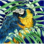 En Vogue B-264 Blue Parrot - Decorative Ceramic Art Tile - 8 in. x 8 in.
