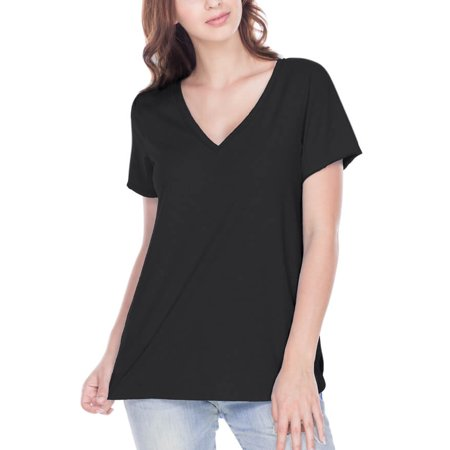 Kavio! Women Sheer Jersey Raw Edge V Neck Curved Hem Short Sleeve Black (Raw Edge Hem)