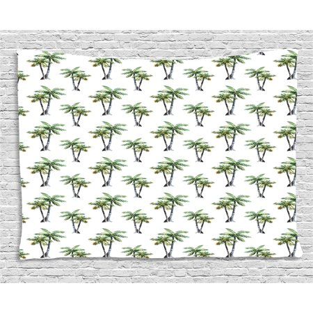 Aloha 40 Inches Home Decor - Palm Tree Tapestry, Botanical Watercolor Artwork of Hawaiian Aloha Forest Palm Trees in Pairs, Wall Hanging for Bedroom Living Room Dorm Decor, 60W X 40L Inches, Grey Green White, by Ambesonne
