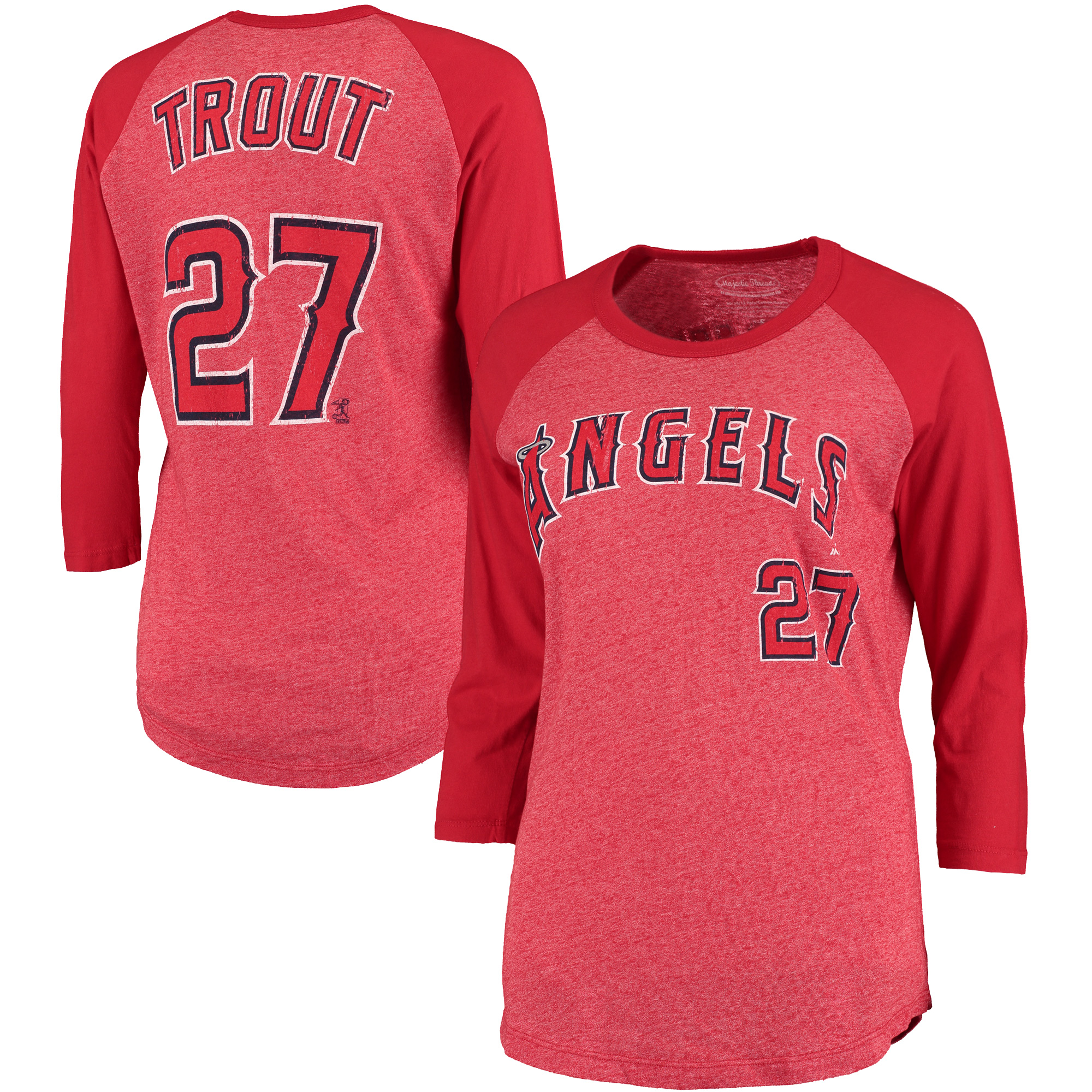 Mike Trout Los Angeles Angels Majestic Threads Women's 3/4-Sleeve Raglan Name & Number T-Shirt - Red