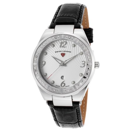 10220Sm-02 Passionata Diamond Black Genuine Leather White Dial Ss (Polished Genuine Swiss)