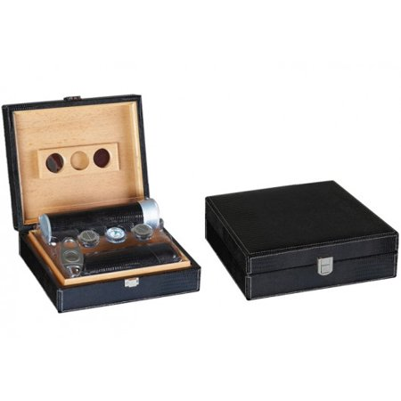 Leather Humidor - Alligator Leather Cigar Humidor Gift Set - Black - Capacity: 25