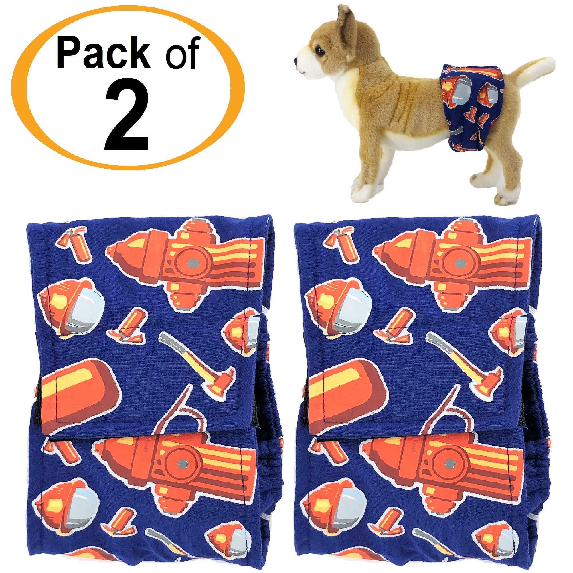 "PACK - 2pcs Washable Male Dog Diapers Belly Band Wrap COTTON Waterproof Leak Proof sz XS Waist 8"" - 10"""