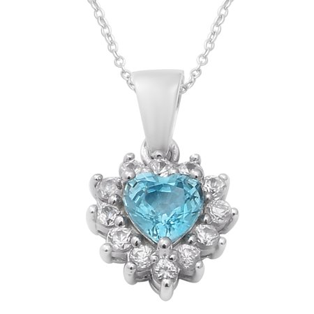 """Shop LC 925 Sterling Silver Heart Blue White Zircon Necklace Platinum Plated Pendant Bridal Anniversary Engagement Wedding Size 18"""" Ct 1.6 For Women Jewelry"""