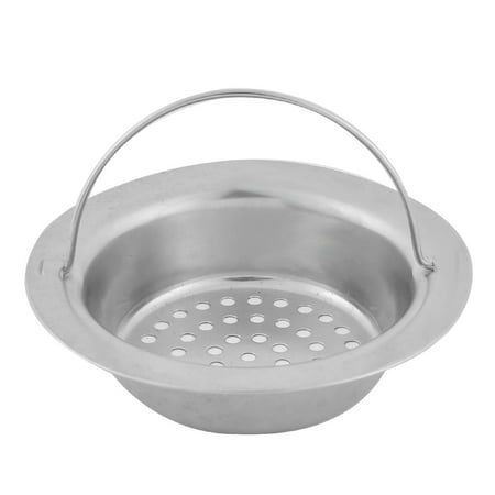 Home Kitchen Stainless Steel Hand Held Basin Sink Strainer Drainer Silver Tone