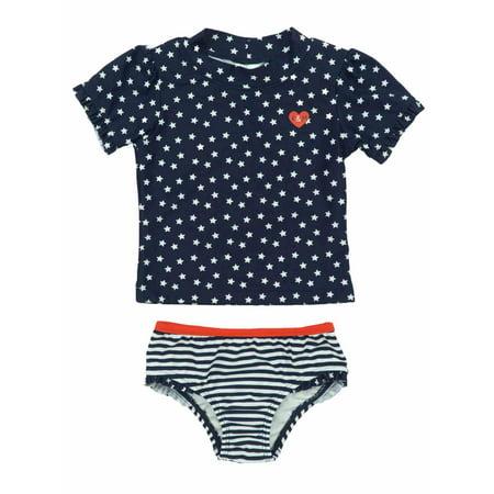 62946bbd8b3ca Kiko & Max - Infant Girls Patriotic USA Stars & Stripes 2 Pc Rash Guard  Swimming Suit 12m - Walmart.com