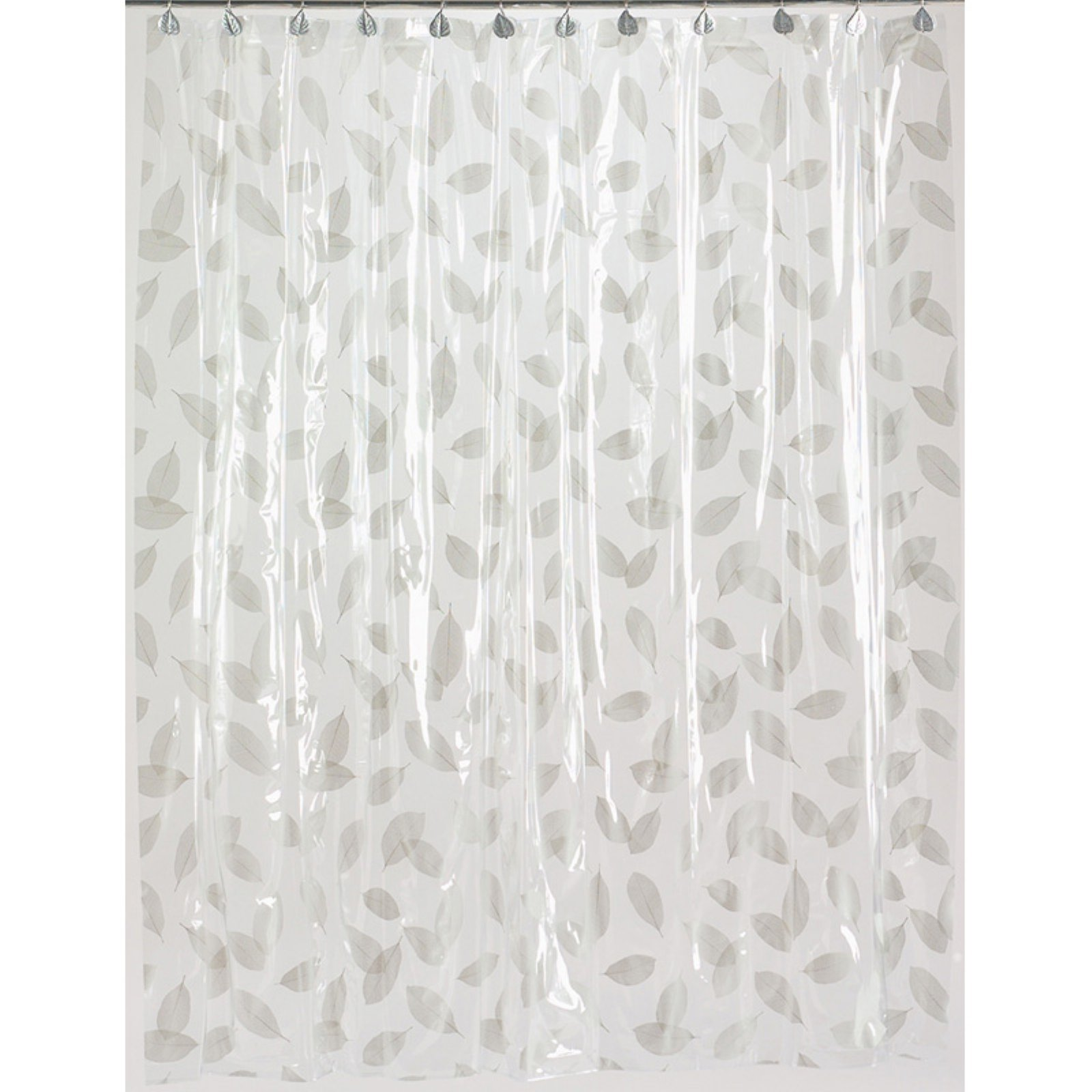 """Autumn Leaves"" Vinyl Shower Curtain in Silver"