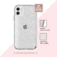 Clear with Silver Glitter Phone Case for iPhone 11