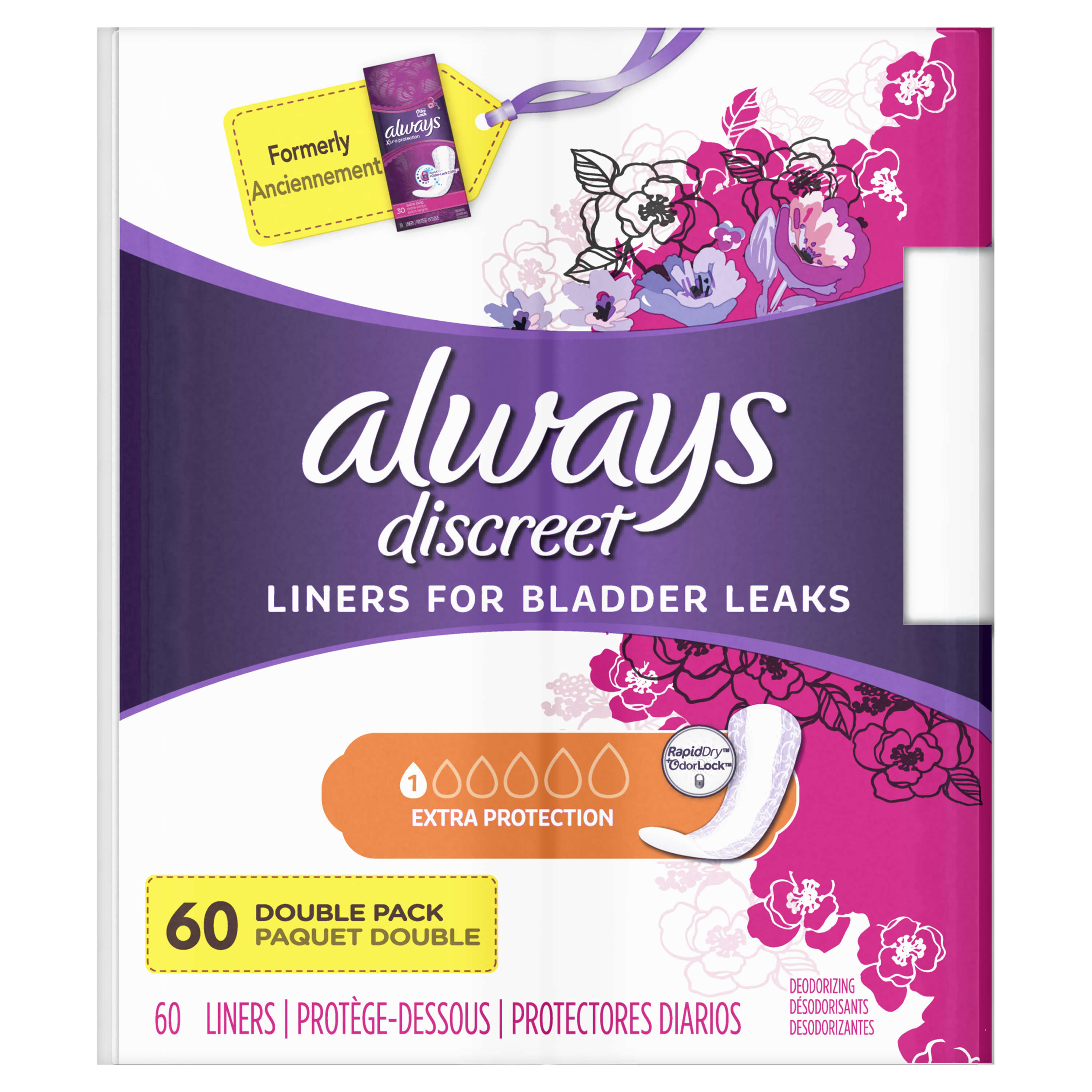 Always Discreet Incontinence Liners with OdorLock, Size 1, 60 Count