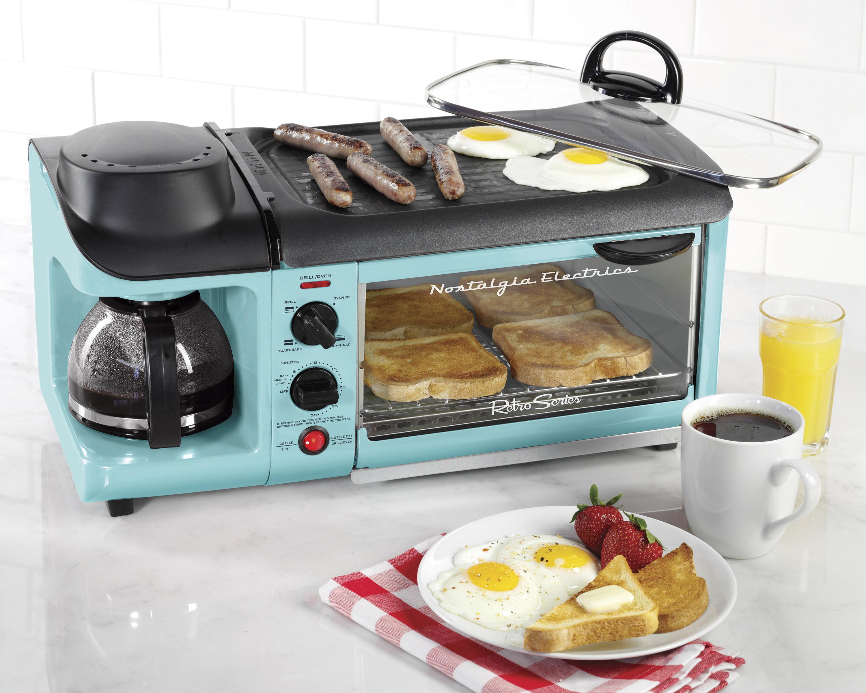 Nostalgia BSET300BLUE Retro Series 3-in-1 Family Size Breakfast ...