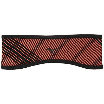 mizuno running breath thermo windproof headband, one size, fiery coral