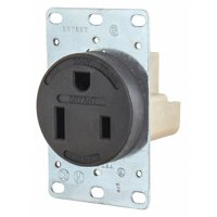 BRYANT Receptacle,Black,50A,3.0 HP,2 Poles 9650FR