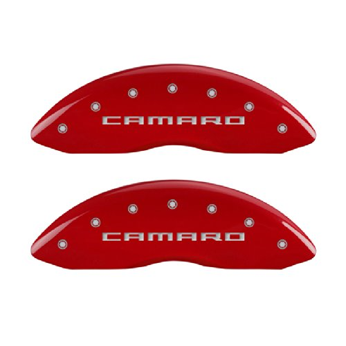 Set of 4 MGP Caliper Covers 14036SCA5RD Caliper Cover with Red Powder Coat Finish,