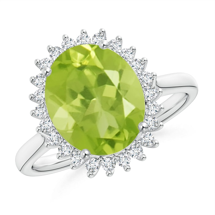 Angara August Birthstone Ring Classic Oval Peridot Floral Halo