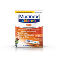 Mucinex Children's Chest Congestion Expectorant and Cough Suppressant Mini-Melts, Orange Cream - 12 Packets