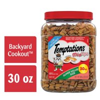 TEMPTATIONS MixUps, Crunchy and Soft Cat Treats, Backyard Cookout Flavor, 30 oz. Tub (Various Sizes)