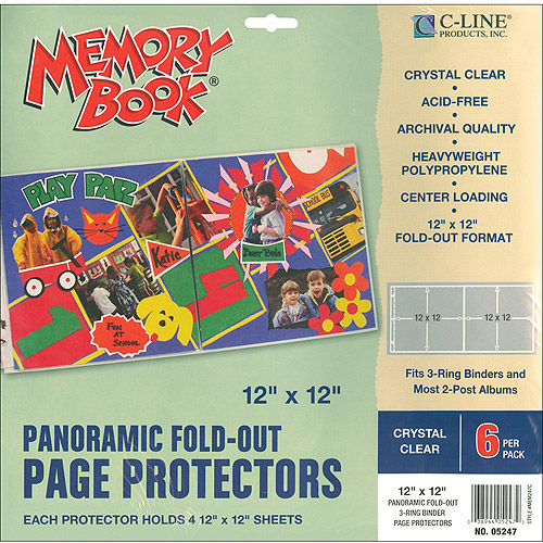 "C-Line Memory Book Panoramic Fold-Out Page Protectors, 12"" x 12"""
