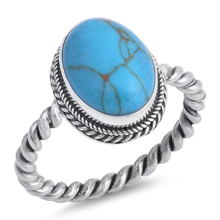 Handcrafted 925 Silver Turquoise Ring (Simulated Turquoise Rope Braid Polished Bali Ring ( Sizes 6 7 8 9 10 ) New .925 Sterling Silver Band Rings (Size 6))