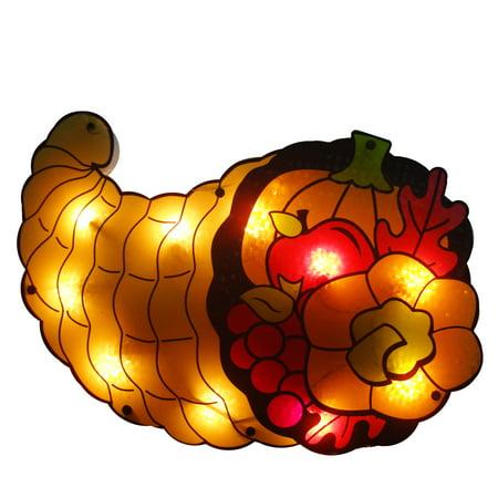 "20"" Lighted Cornucopia Thanksgiving Window Silhouette Decoration"