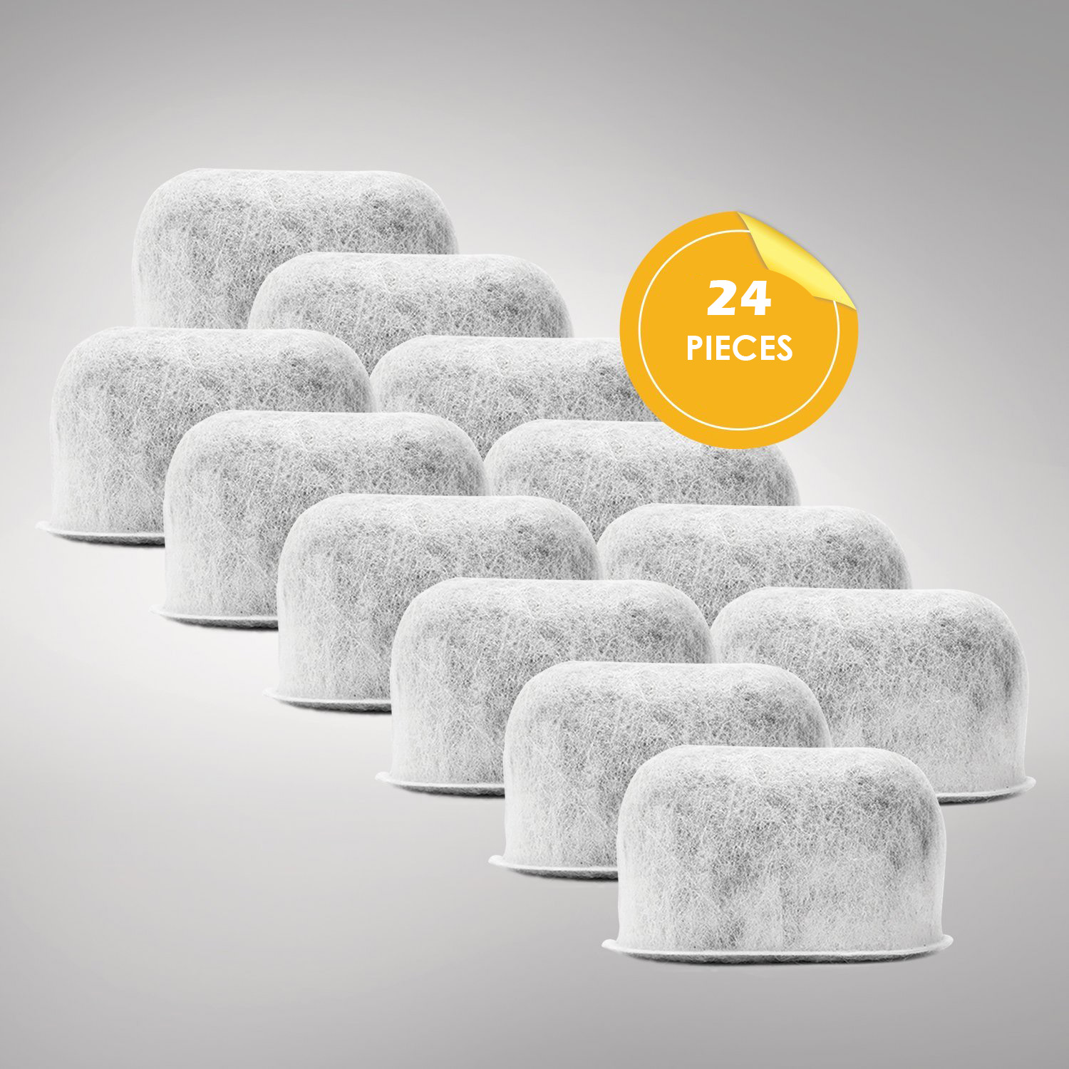 24 Replacement Charcoal Water Filters for Cuisinart Coffee Machines, White by