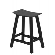 """24.75"""" Recycled Earth-Friendly Curved Outdoor Bar Stool - Gray With Black Frame"""