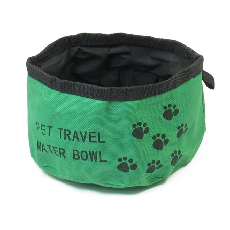 Unique Bargains Portable Travel Outdoor 6 3  Dia Green Black Cat Puppy Pet Food Water Bowl